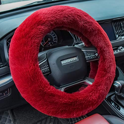Valleycomfy Fluffy Steering Wheel Cover for Women Fuzzy Steering Wheel Cover Winter Warm Plush Car Wheel Cover Universal Fit 15 Inch Wine Red