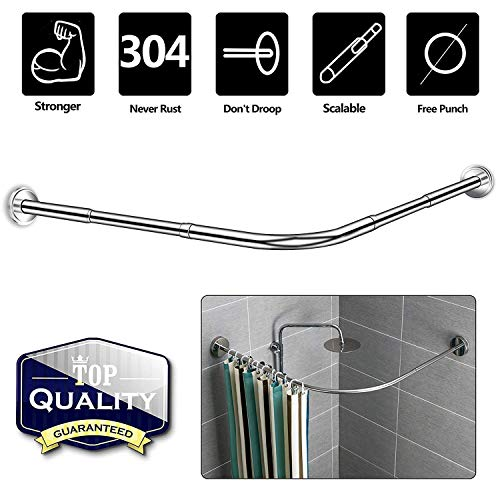 for Bathtub Cloakrooms 70 to 95cm Curved Shower Curtain Rod Tension Pole Adjustable L Shaped Corner Shower Curtain Rod Rail Stainless Steel Wall Mounted Corner Shower Curtain Rod Rack
