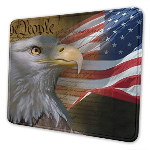 Vintage USA Flag American Patriotic Eagle Mouse Pad with Stitched Edge, Non-Slip Rubber Base Gaming Mousepad, Premium-Textured Customized Mouse Mat for Office Home PC Laptops