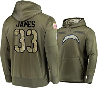 Los Angeles Chargers #33 Derwin James Mens Salute to Service Hoodie - Olive