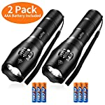 outlite 2 pack S1000 Flashlight (AAA Battery Included), LED flashlights High Lumens with 5 Modes, Zoomable Water… 11 --Powerful LED flashlight provides high brightness light. It generates a brilliant large area floodlight or a perfectly focused spotlight. 100 square meters room can be light up easily by outlite flashlight. You can also focus in on objects up to 1000 feet away. Flashlight works with AAA battery(6pcs Included) or a rechargeable 18650 battery (Not Included), both can last for more than 5 hours. With AAA battery, flashlight will be safer and convenient. --Settings with 5 modes: High, Medium, Low, Strobe and SOS emergency modes. --Led flashlight has ability to narrow or widen the area you wish to light. You can stretch the head-pulling zoom to adjust its focus and get spot beam or flood beam you need. Super bright zoomable focus perfect for distant observation and wide range illumination.