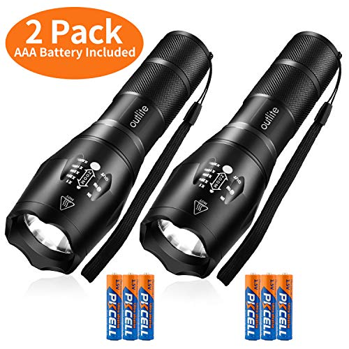 outlite 2 pack S1000 Flashlight (AAA Battery Included), LED flashlights High Lumens with 5 Modes, Zoomable Water Resistant Tactical Flashlight for Camping Hiking Emergency