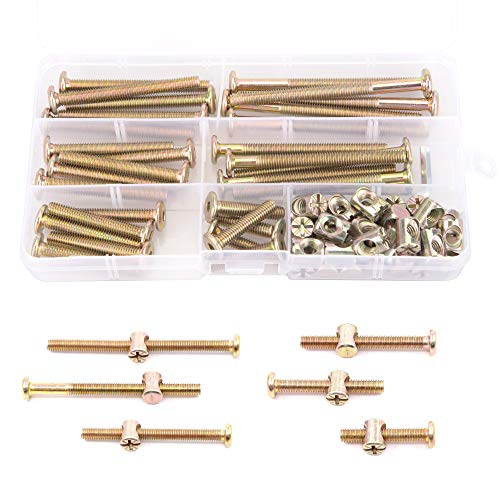 XOOL Baby Bed Crib Screws Hardware Replacement Kit 30-Set M6x30mm/40mm/ 50mm/ 60mm/ 70mm/ 80mm Hex Drive Socket Cap Screws Barrel Nuts Assortment Kit for Beds Headboards Chairs Furniture