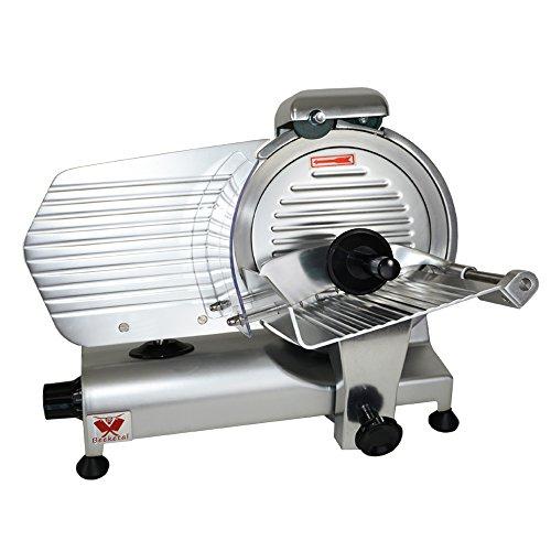 Beeketal 'Profi 250' Aufschnittmaschine mit Ø 250 mm Spezialmesser (glatte Schneide), Schnittstärke 0-10 mm, Aluminium Schrägschneider mit Schnittguthalter, Schubhilfe und Schärfvorrichtung