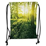 LULUZXOA Gym Bag Printed Drawstring Sack Backpacks Bags,Nature,Sunrise in Forest Greenland Morning...