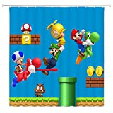 chaoqian Cartoon Shower Curtain Kids Bathroom Decor Boy Drape for Mario Waterproof Polyester Fabric Home Fashion Bath Accessories Curtains Set with Hooks 70 X 70 Inch