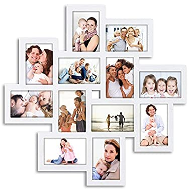 L24  x H24  Gallery Collage Wall Hanging Photo Frame For 6  x 4  Photo, 12 Photo Sockets, White Edge | By Hello Laura
