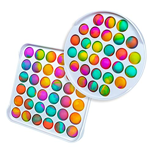 Gmajdar Pop Fidget Toys Pack Anti-Anxiety Stress Relief Tie Dye Push Pop Bubble Fidgets Toys Rainbow Simple Toys for Kids Adults 2 Pack (Circular + Square)