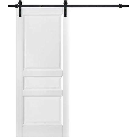 3-Panel Slab Barn Door 18 x 80 Lucia 31 Matte White Pocket Closet Sliding Sturdy Finished Wooden Kitchen Pantry Shaker Doors