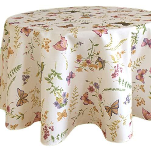 Tischdecke Rund 130 cm Pflegeleicht Creme Schmetterlinge Bunt Sommer Gartentischdecke Küchendecke Motivdruck (Tischtuch rund 130 cm)
