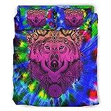 STELULI Juego de cama de 4 piezas, diseño de lobo, color rosa y duradero, 228 x 264 cm