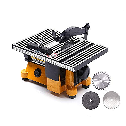 Elikliv Mini Table Saw Set, 220V Multifunction Mini DIY Woodworking Bench Saw for Cutting Wood Copper Aluminium 4 Mini Table Saw Mini Cutting Machine with 3 Circular Saw