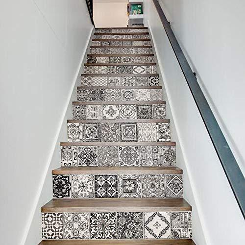 Pegatinas de escaleras 3d Negro Blanco Patrón de cerámica Azulejos de pared Pegatinas de escaleras Pegatina de pared de PVC extraíble Cartel mural impermeable for escalera de habitación Pintura