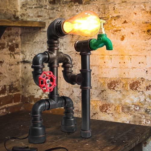 Loft Hierro Base Steampunk Lámpara Escritorio Antiguo Metal Tubo Lámpara de Mesa de Luz del Escritorio Lámpara de Mesilla(bombilla no incluida) [Clase de eficiencia energética A++]