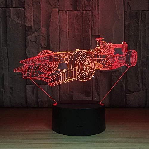 Luz de noche LED 3D Luz sentimental Forma de coche deportivo Interruptor táctil de luz deslizante de 7 colores con cable USB Decoración de la habitación del bebé de los niños de la niña Regalo