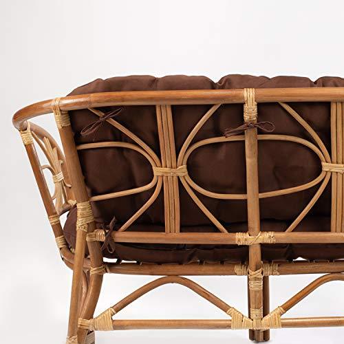 Rattan Gartenmöbel Set - Balkon Möbel - Lounge Möbel Terrasse - Ragnarök Gartenmöbel - Tisch Set - Balkonmöbel Set mit Couch (Hellbraun - Schokolade) - 2