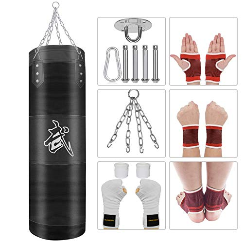 YOLIYOQU Punching Bag UNFILLED Set Kick Boxing Bags for Adults Training Punching Mitts Hanging Chain Muay Thai Training Fitness Workout Set Buy One Get sixBag Empty