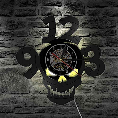 LTOOD Halloween Horror Schedel Grote Getallen Laser Cut Vinyl LP Wandklok saat Skeleton Hoofd Duivel Demon LED Nachtlampje