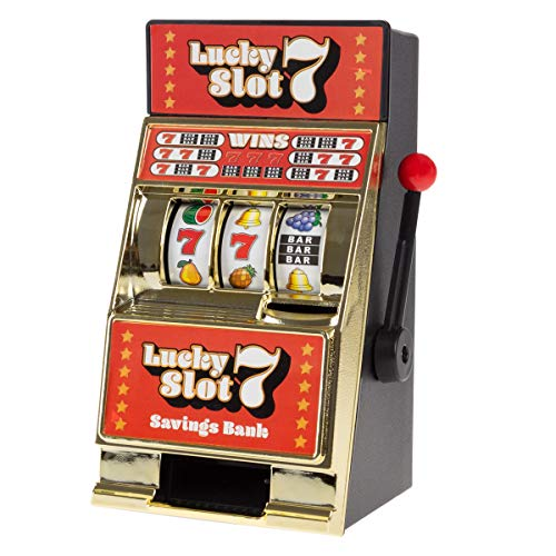 Trademark Gameroom Slot Machine Coin Bank – Realistic Mini Table Top Novelty Las Vegas Casino Style Toy with Lever for Kids amp Adults Lucky 7S