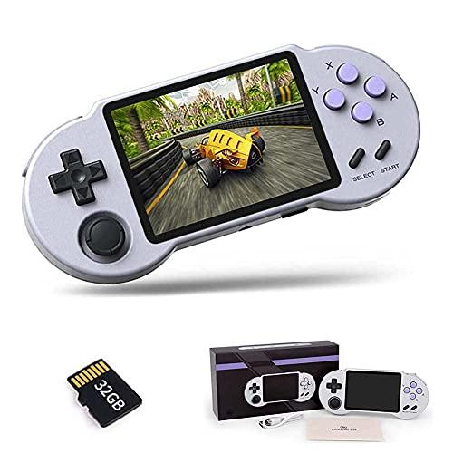 Chtom Consola de Juegos Retro de 3.5 Pulgadas IPS Screen Handheld Video Games Consolas 32G, 3000 Juegos clásicos incorporados, compatibles con PS1, FBA, MD, GB, Apoyo televisor Conexión