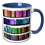 3dRose mug_112957_6'Colorful bookshelf books Rainbow bookshelves reading Book geek library' Two Tone Blue Mug, 11 oz, Blue/White
