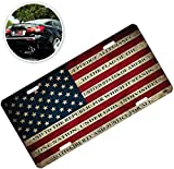 Zone Tech Tactical USA Flag License Plate - Premium Quality Thick Durable Novelty American Patriotic Pledge of Allegiance Car Tag Plate Cover