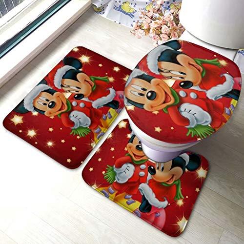 Mickey Mouse Christmas Eve Bathroom Carpet Soft Anti-skidAnti-Skid Pads Bath Mat + Contour Pads + Toilet Lid Cover 3 Piece Set,Absorbent Carpet Bath and Mat Anti-Slip Pads Set,for Decoration Bathroom