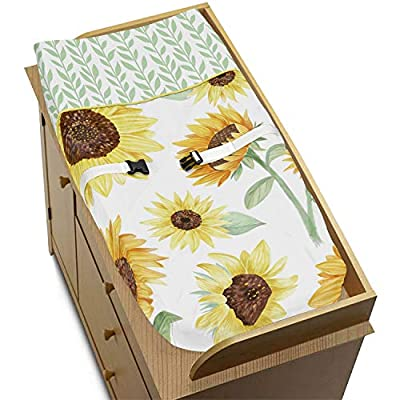 Sweet Jojo Designs Yellow, Green and White Sunflower Boho Floral Girl Baby Nursery Changing Pad Cover - Farmhouse Watercolor Flower