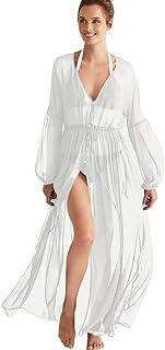 Pareos Mujer Traje de Baño Cubrir Gasa Largo Cardigan Vestido de Playa