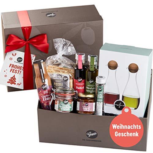Gepp's Große Bescherung Geschenkbox | Gefüllt mit feinsten Delikatessen und einer Essig & Öl Karaffe aus Glas | Hochwertiges Geschenk für Frauen und Männer zu Weihnachten oder Geburtstag im Advent