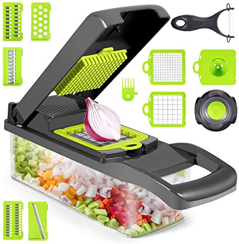 Newthinking Vegetable Choppers 14 in 1 Kitchen Mandolines Slicer with Food Container and Peeler MultiFunction Vegetable Onion Chopper for Garlic Cabbage Carrot Potato Tomato Fruit Salad