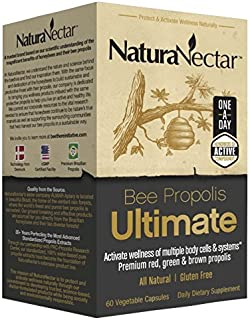 NaturaNectar Natural Bee Propolis Ultimate – Immune Support with Premium Red, Green & Brown Brazilian Propolis (60 Capsule...