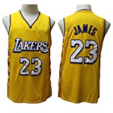 TPPHD Camisetas para Hombres, NBA Los Angeles Lakers # 23 Lebron James Classic 2021New Style Basketball Shirt, cómodo Ligero Transpirable Unisex Uniforme Uniforme,Amarillo,XL