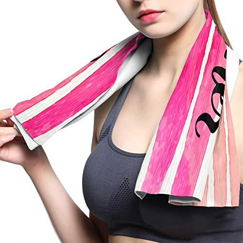 """Luck Sky Pink Line Cooling Towels Chilly Cloth for Instant Relief Monogram Best Summer Microfiber Yoga Towel for Indoor/Outdoor Sports Running Workout Gym Camping Fishing Hiking 13.8""""x39"""""""