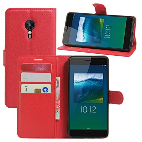 HualuBro Lenovo ZUK Z2 Pro Hülle, Premium PU Leder Leather Wallet HandyHülle Tasche Schutzhülle Flip Case Cover für Lenovo ZUK Z2 Pro Smartphone (Rot)
