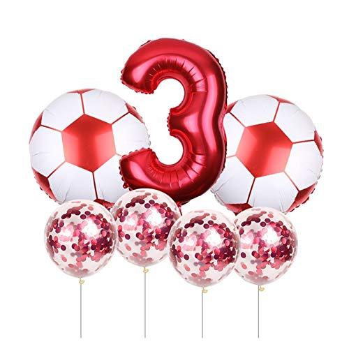 CHENGCHAO Globo 7 PCS Fútbol Fútbol Tema Redondo Baloncesto Baloncesto Confetti Látex Helio Balloon Deporte Conozca Fiesta Decoración de Bola decoración (Color : Red-3)