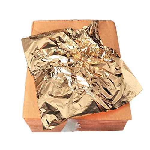 100st Art Craft Design Paper Vergulden Imitatie Gold Sliver Koperfolie Papers DIY Craft Decor Leaf Leaves Sheets 14x14cm, koperachtig, China