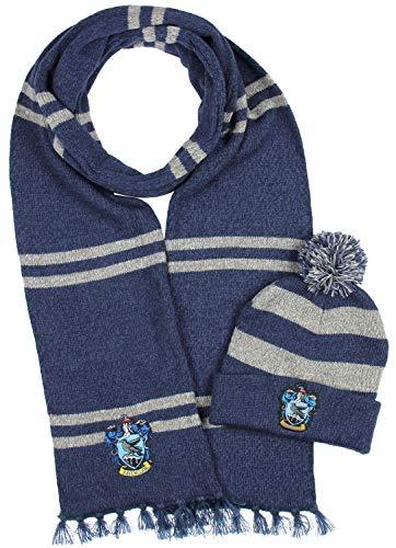 Harry Potter Hogwarts Houses Knit Ravenclaw Scarf & Pom Beanie Set (Ravenclaw)