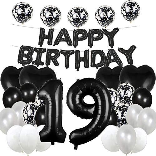 Globos de látex para 19 cumpleaños, decoración para fiestas de cumpleaños con número 19, color negro