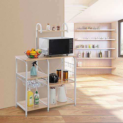 BYHUACN Estante de cocina vintage para hornear, soporte para horno microondas, soporte para microondas 35.5, 4 niveles, estante de 3 niveles con 10 ganchos