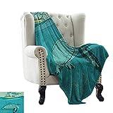 BelleAckerman - Manta de colchón con diseño de Paisaje del océano, Panorama del Atardecer del mar, reflexión Horizonte, Nubes oscuras, Paisaje Natural, Color Azul Turquesa y Azul