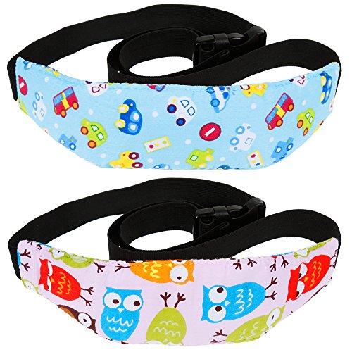 Rovtop 2 Stk einstellbare Kindersitz Befestigung Kopfband Autositz Schlafhaar Hilfe Kopfstütze Schlaf Kopfstützhalter Gürtel blau und rosa