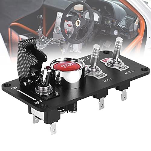 FRIBLSKEL Panel Interruptor Encendido Coche Carreras Panel Palanca Botón LED Arranque Motor 12 V Boton Palanca para Coches Carreras Profesionales Autobuses Vehículos Recreativos Yates