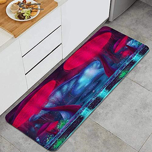 VINISATH Tappeti Cucina Antiscivolo Tappeti per Cucina Lavabile Tappetino Bagno Zerbino Tappeto Cucina Passatoia,Scena di fantasia di fiaba incantata di funghi foresta ruscello pianta