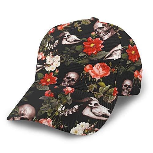 Inaayayi Gorra de béisbol con diseño de calavera y flores, gorra de béisbol plana para hombres y mujeres, con tirantes ajustables en color negro