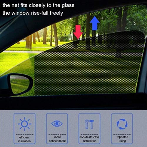 LIMMC 2 Stks Auto Zonwering Mesh Elektrostatische Sticker Zijvenster Zonwering Auto Interieur Gordijn UV Bescherming Exterieur Accessoires 72cm