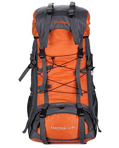 Minetom Sacs De Trekking 70L Grande Capacité Voyage Anti-Pluie Sports Imperméable Sac À Dos Adulte Extérieur Randonnée Camping Orange One Size(30 * 20 * 70 cm)