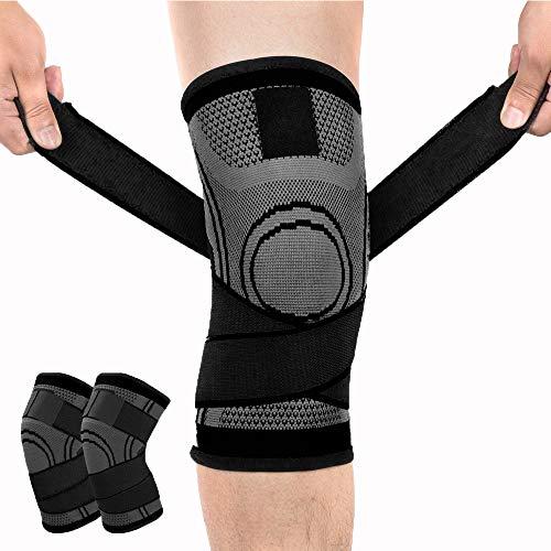 膝サポーター Zaro 加圧式 スポーツサポーター 膝 固定 関節 靭帯 サポート 通気性 伸縮性 登山 ランニング などに適用 2枚入り 男女兼用 (ブラック, L)
