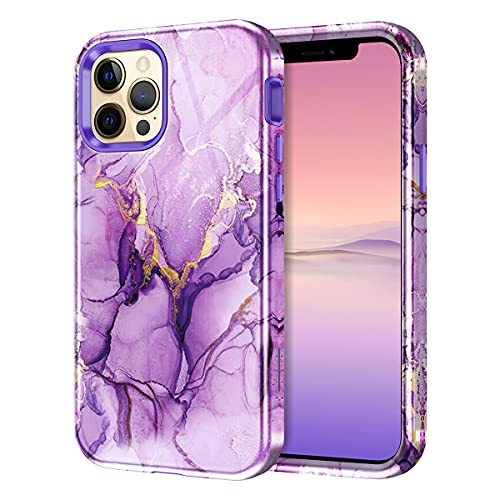 Lamcase Compatible with iPhone 12 Pro Max 6.7 inch 5G Case, Heavy Duty Shockproof Hybrid Hard PC Soft TPU Rubber Three Layer Drop Protection Cover Case for Apple iPhone 12 Pro Max 2020, Purple Marble