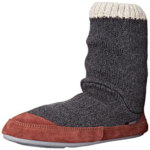 Acorn Men's Slouch Boot Slipper, CHARCOAL RAGG WOOL, Medium